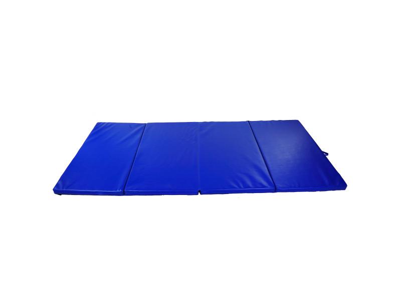 Tapis de sol gymnastique fitness pliable portable rembourrage mousse 5 cm grand confort p.u dim. 2,93l m x 1,15l m bleu