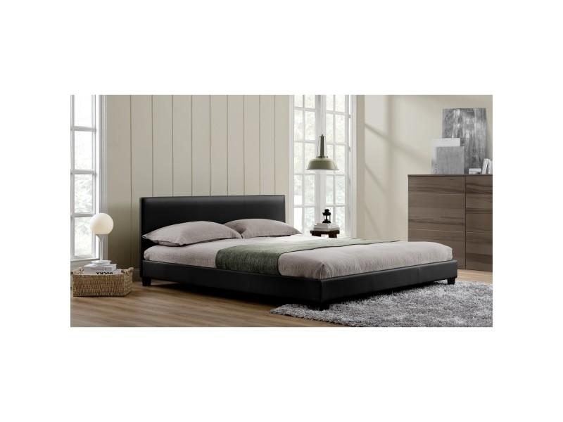 lit oxford cadre de lit en simili noir 140x190cm vente de lit adulte conforama. Black Bedroom Furniture Sets. Home Design Ideas