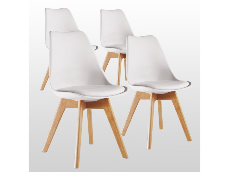 Lot de 10 chaises scandinaves blanches lorenzo - assise rembourrée - salle à  manger, cuisine ou bureau
