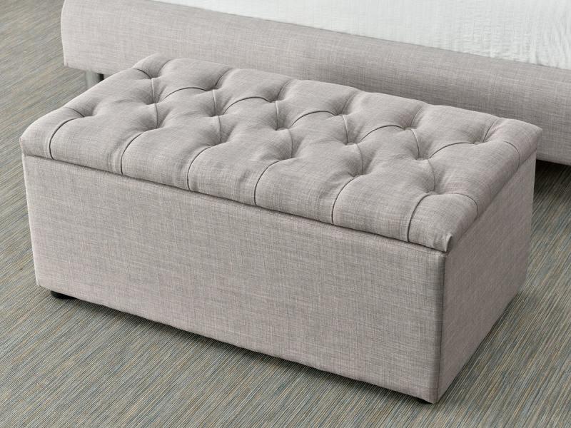 Coffre pied de lit nina 88 x 48 x 39 gris clair vente de