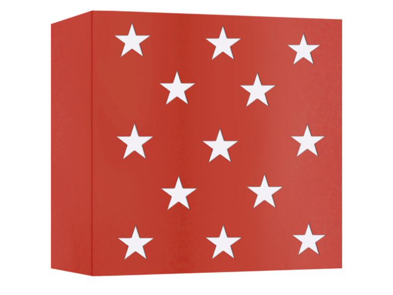Murale Estrella Étoiles En Applique Vente Carré Rouge Métal Motif I6yb7gYfv