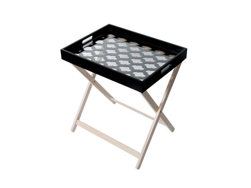 Michigan table d'appoint en bois avec plateau en bois laqué noir et verre