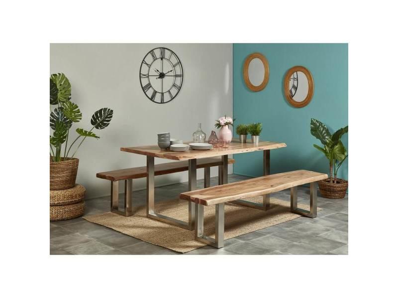 Bobochic table awa bois acacia massif et pieds carrés métal chromé 160