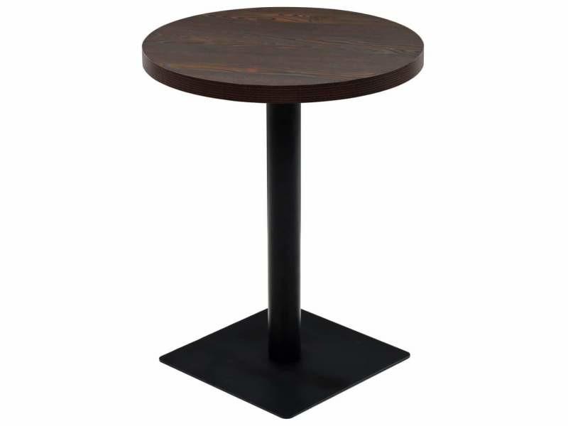 Table haute mange debout bar bistrot mdf et acier rond 60 cm frêne foncé marron helloshop26 0902110