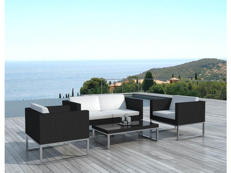 Salon de jardin design 4 places en résine noire coussins ...