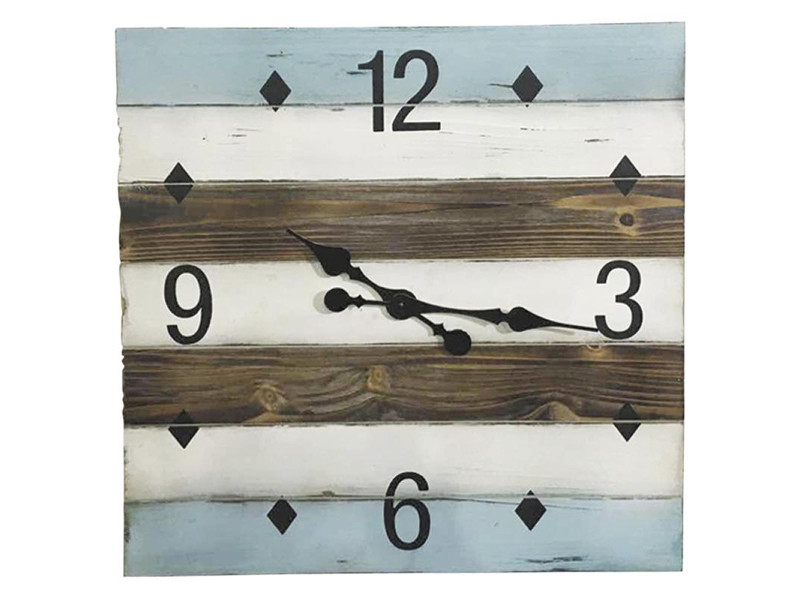 Horloge en bois - dim : d 60 x 60 x ep.4,5 cm -pegane- PEGANE