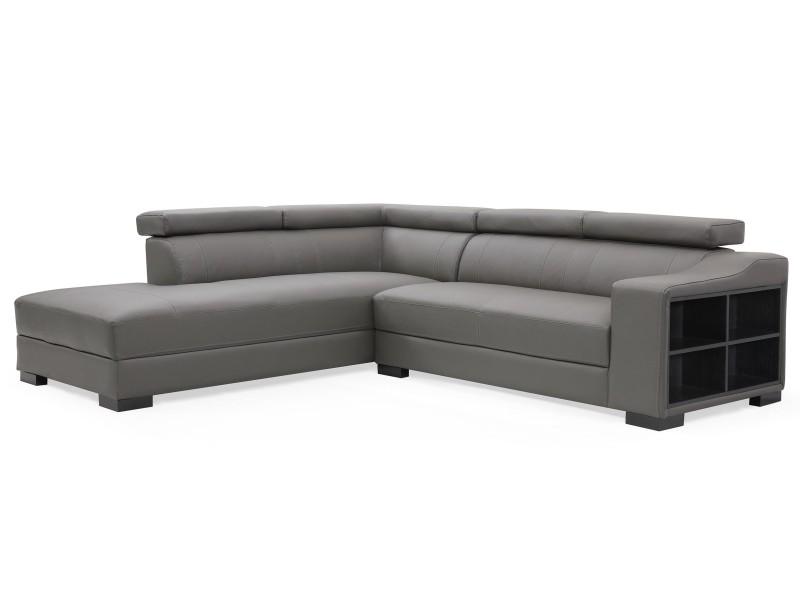 Canapé d'angle en cuir onoz gris