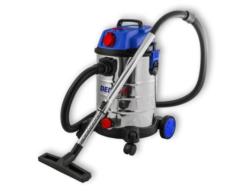 Dtools | aspirateur industriel eau et poussière | 1400 w + prise 2000w | cuve inox capacité 30 l | aspirateur atelier | filtre hepa | bleu