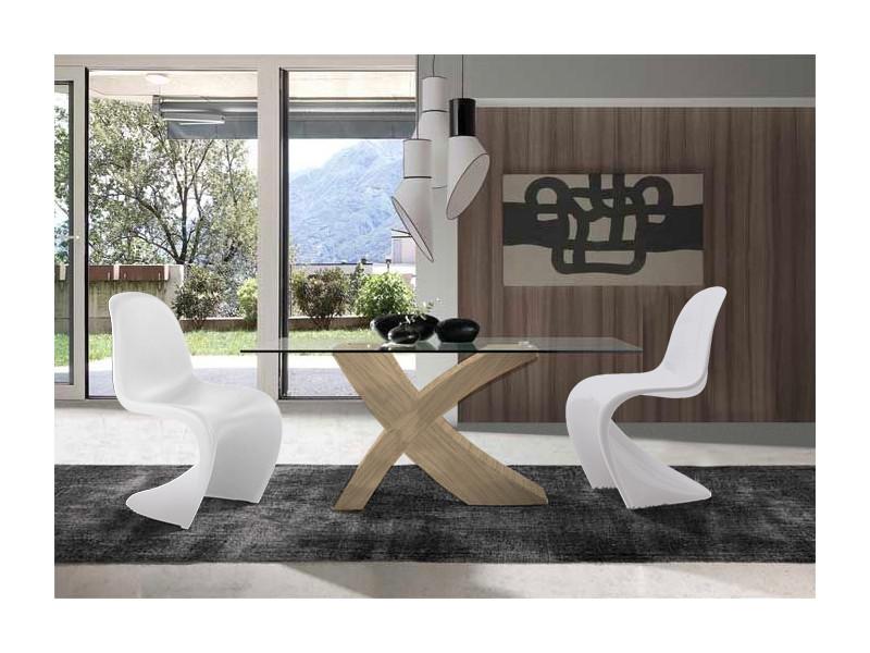 Ensemble table de repas argos chêne clair et 4 chaises pop art.
