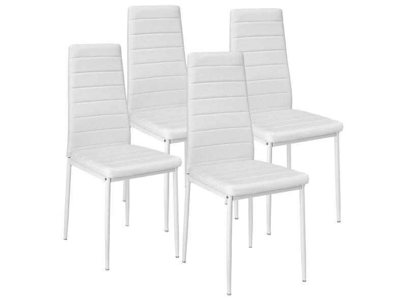 Lot de 4 chaises de salle à manger hombuy blanc en simili cuir
