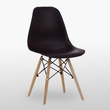 Ensemble Table Effet Chene Et 4 Chaises Noires Style Eames