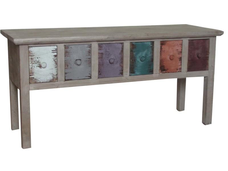 Table basse style rustique en bois de paulonia finition multicolore l100xpr35xh47 cm
