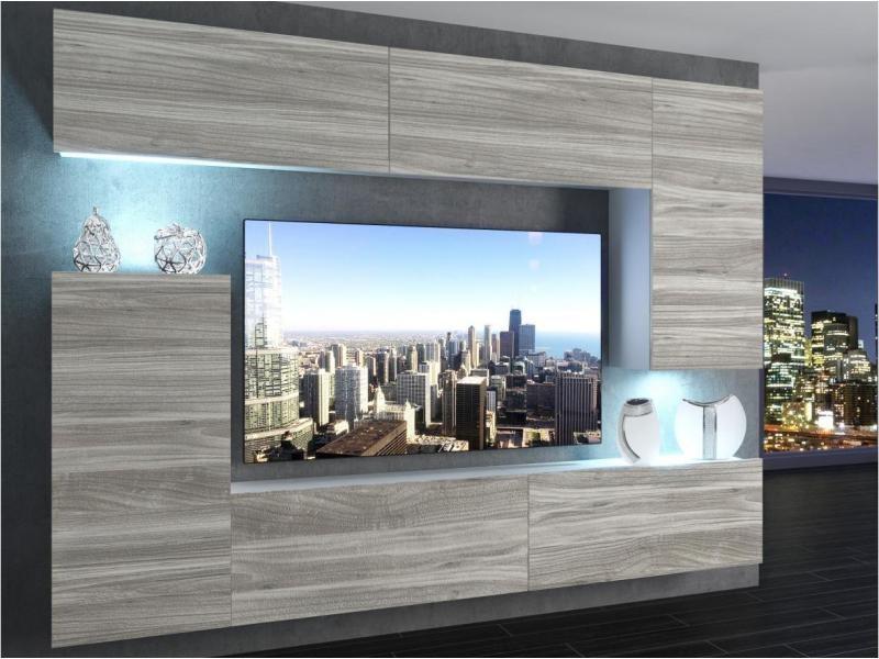 Slide - ensemble meubles tv + led - unité murale moderne - largeur 250 cm - mur tv à suspendre - aspect bois - bois