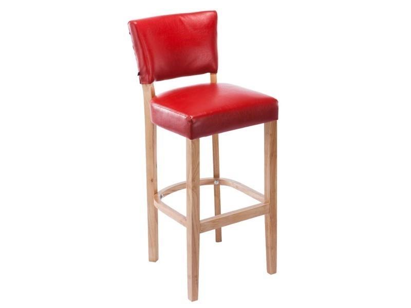 Tabouret de bar en bois avec siège en polyuréthane rouge - 112 x 46 x 44 cm - pegane -