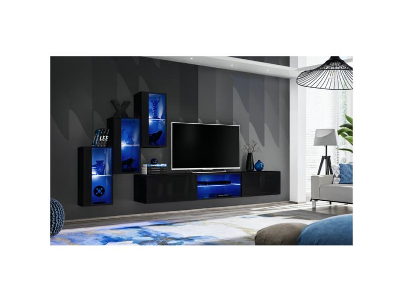 Ensemble meuble tv mural switch xxii - l 240 x p 40 x h 170 cm - noir