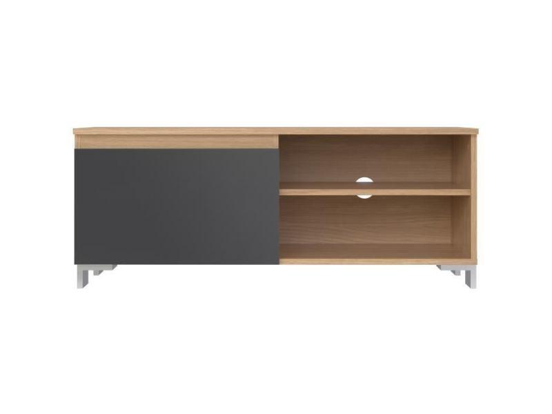Meuble tv - meuble hi-fi manhattan meuble tv contemporain laminé chene clair et mélaminé gris anthracite - l 110 cm