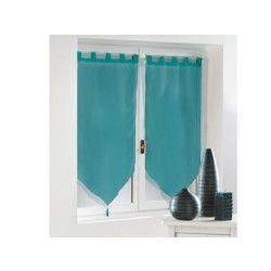 Une paire de rideau voilage passants pompon 60 x 90 cm voiline bleu azur