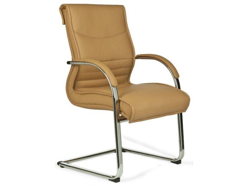 Chaise design avec accoudoirs en pvc coloris caramel - Chaise de bureau avec accoudoir ...