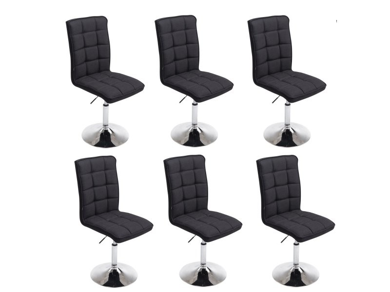 lot de 6 chaises de salle manger hauteur r glable en tissu noir cds10252 vente de chaise. Black Bedroom Furniture Sets. Home Design Ideas