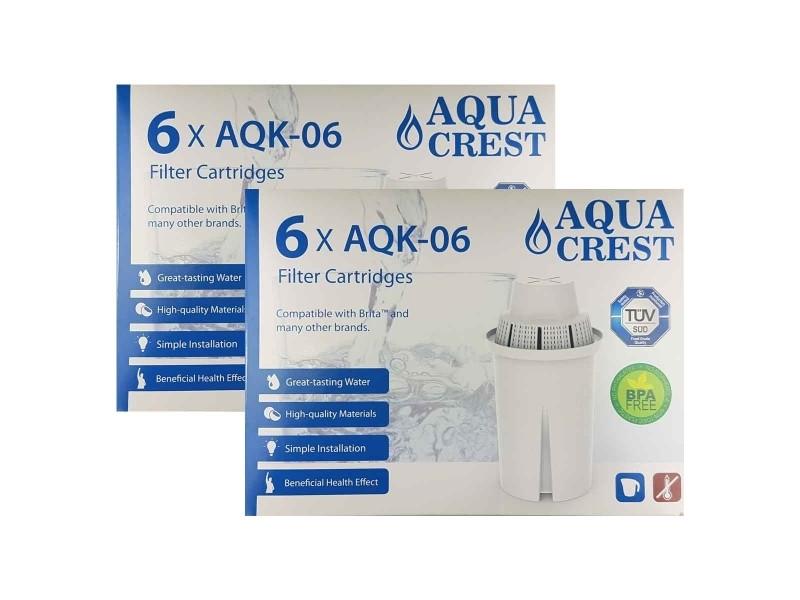 Pack x 12 cartouches filtrantes aquacrest aqk06 pour brita classic. 24 mois de filtration remplace: brita classic, laica multiflux, bwt gourmet mg²+,