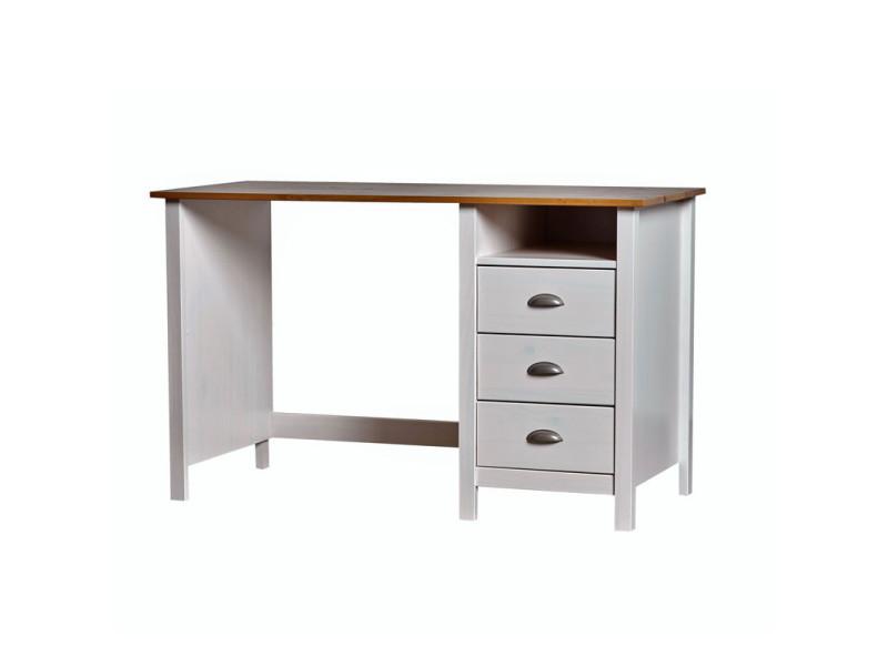 Bureau tiroirs blanc et bois emie l l h neuf