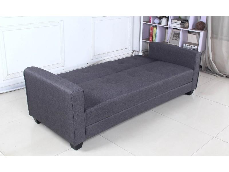 canap convertible 3 places clayton tissu gris fonc vente de canap droit conforama. Black Bedroom Furniture Sets. Home Design Ideas