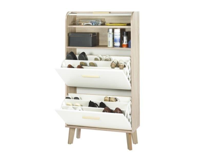 Meuble à chaussures chêne abattants blancs - coloris rideau: rideau blanc