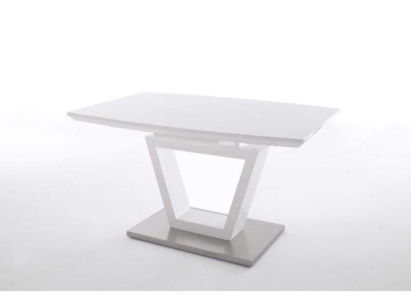Table avec rallonge coloris blanc brillant -l140 x h76 x p90 cm -pegane-