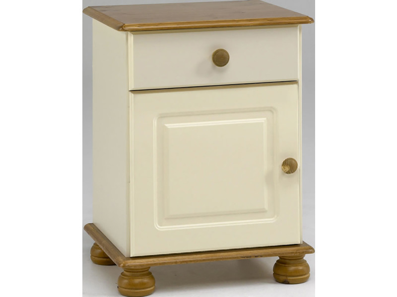 Table de chevet, en pin massif avec 1 porte et 1 tiroir coloris blanc / crème - dim : 57.9 x 44.1 x 38.3 cm -pegane-