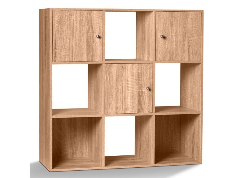 Meuble de rangement cube 9 cases bois fa on h tre avec 3 for Meuble 12 cases
