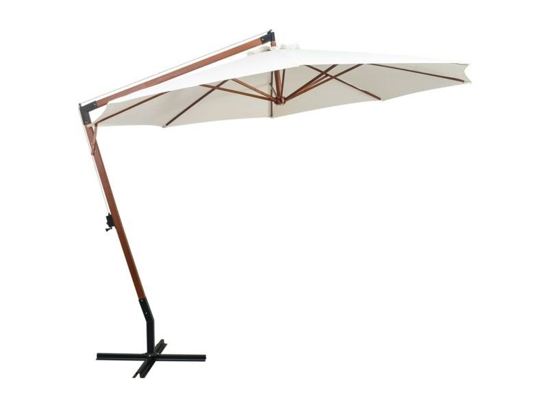 Vidaxl parasol 350 cm poteau de bois blanc 42966