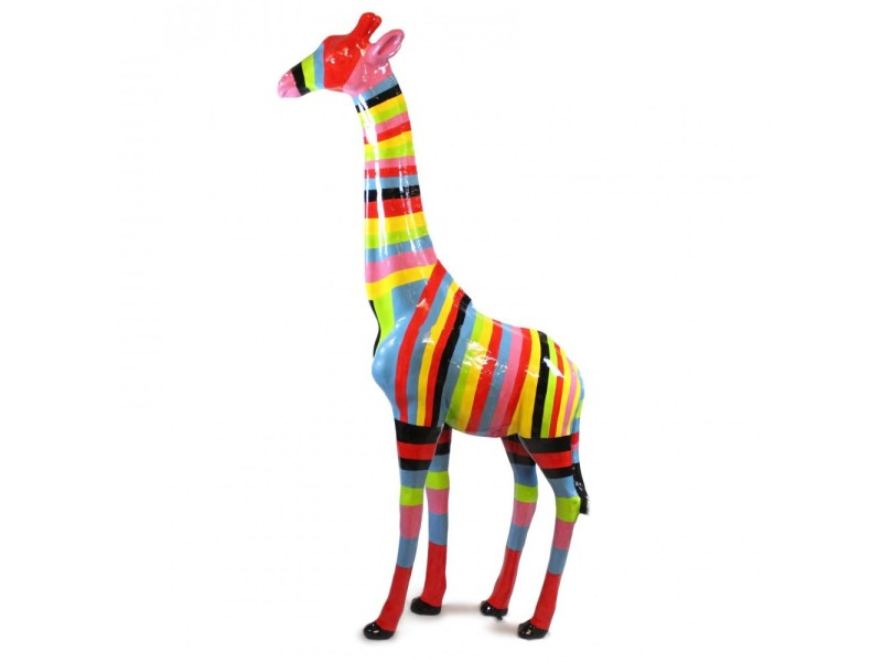 statue sculpture girafe resine multicolore originale 2 metres conforama. Black Bedroom Furniture Sets. Home Design Ideas