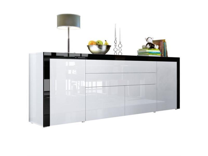 Buffet blanc haute / noir brillance 200 cm