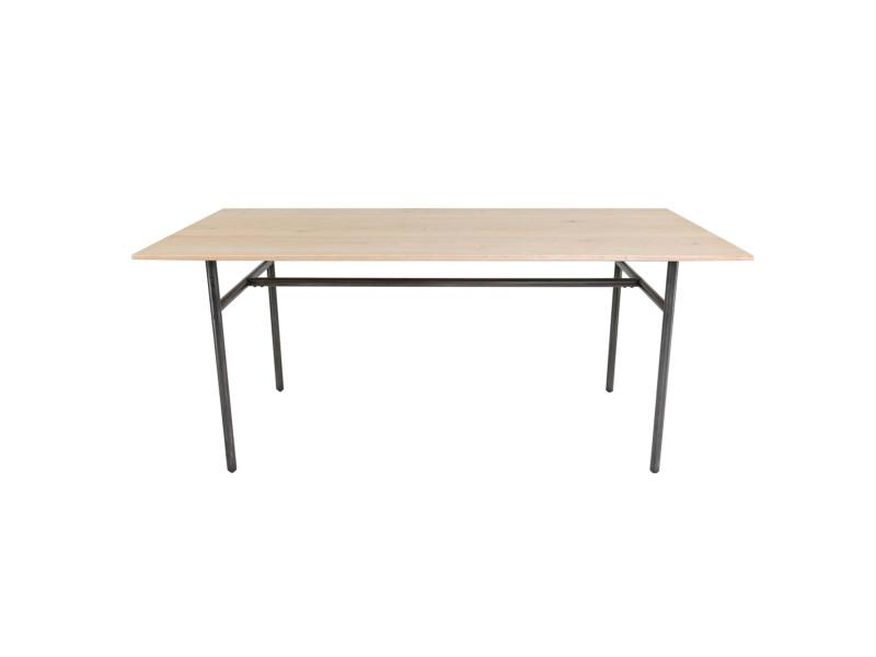 Table repas chêne et métal rectangulaire 180 cm frequency - noir/miel - noir/miel