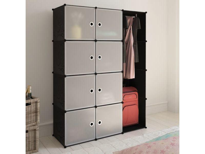 vidaxl armoire modulaire 9 compartiments noir et blanc 37 x 115x150 cm 240497 vente de vidaxl. Black Bedroom Furniture Sets. Home Design Ideas