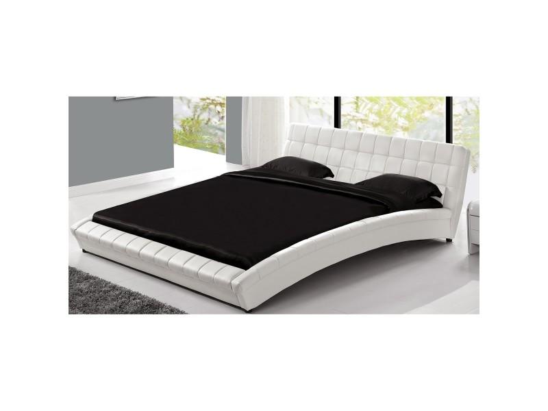 Lit chelsea cadre de lit en simili capitonn blanc - Lit capitonne conforama ...