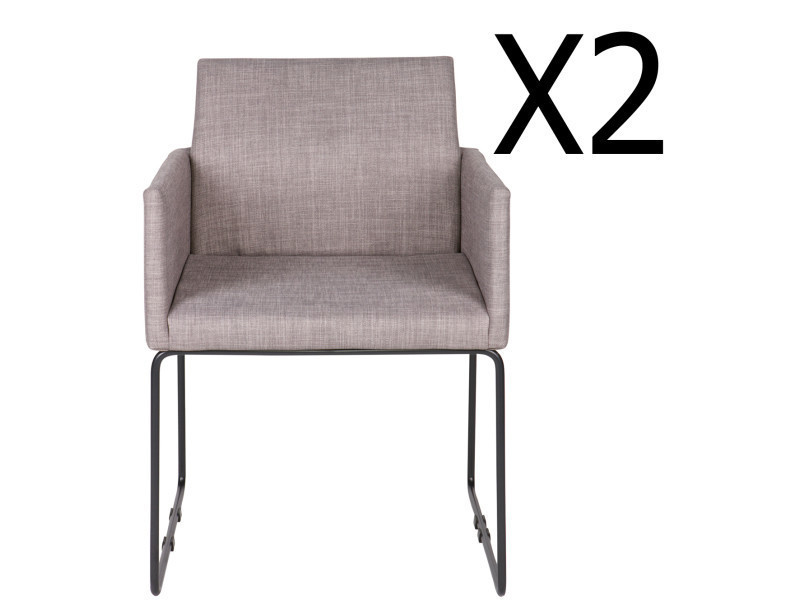 Lot de 2 chaises en tissu et métal, coloris gris - dim : h 80 x l 61,5 x p 54,5 cm - pegane -