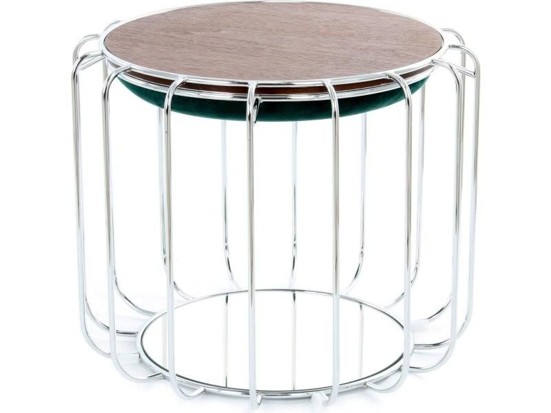 Pouf reverse table d'appoint confortable silver DJP68