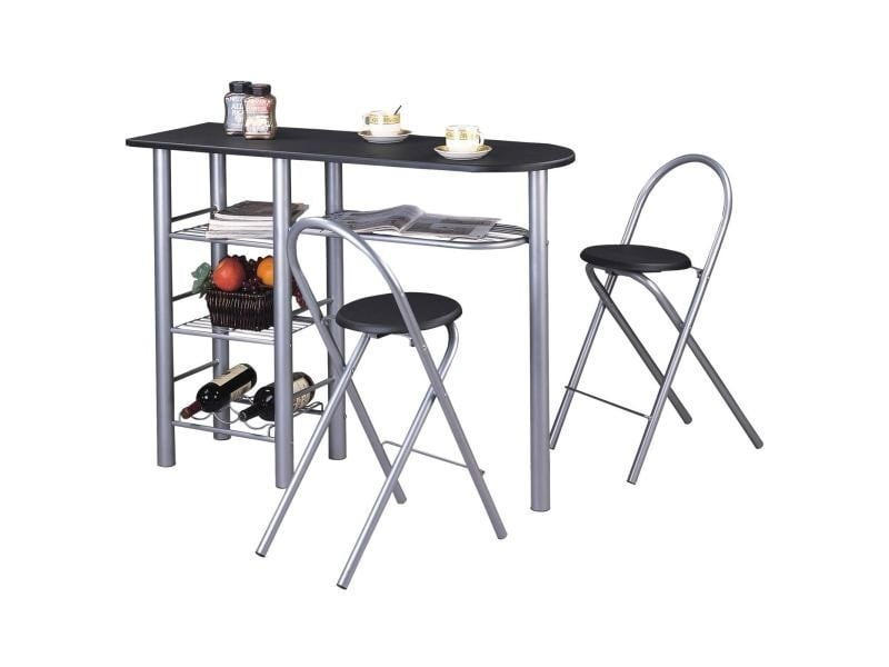 Ensemble style avec table haute de bar mange debout comptoir et 2 chaises tabourets table et for Tabouret table haute