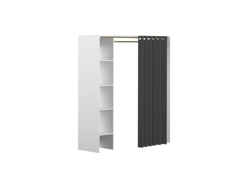 dressing en bois gris blanc extensible avec rideau 1. Black Bedroom Furniture Sets. Home Design Ideas