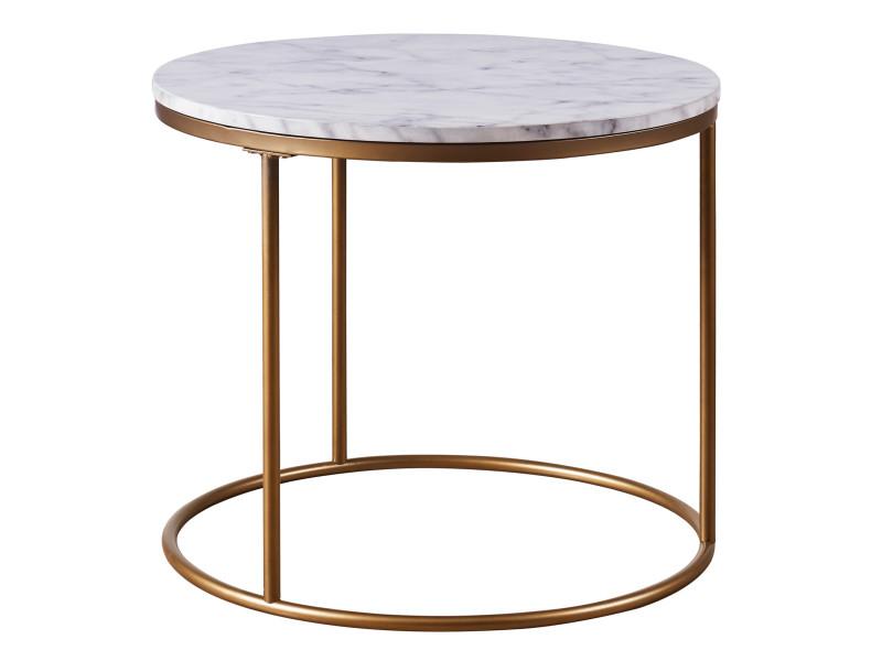 Table d'appoint ronde en bois effet faux marbre pieds métal doré laiton versanora marmo vnf-00076