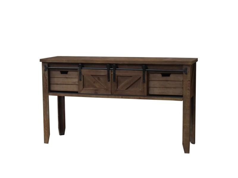 Console table drapier à tiroirs et porte coulissante industriel 140 cm 10904-BIS