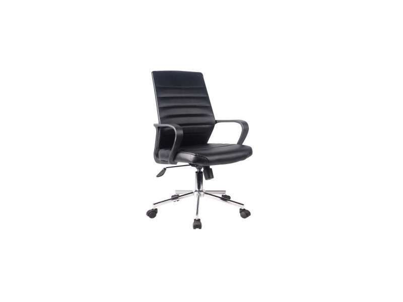 Executive chaise de bureau simili noir - l 59 x p 61 x h 86-96 cm