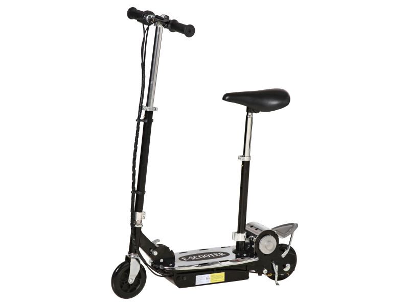 Trottinette électrique 120 w pliable pour enfant de 7 à 12 ans hauteur guidon et selle réglable 10 km/h max. Noir