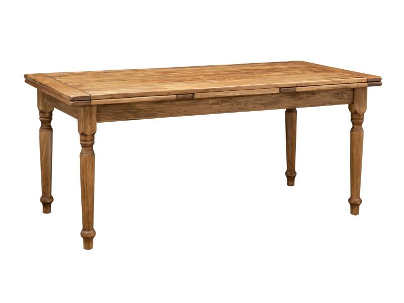 Table rallonge champêtre en bois massif de tilleul massif, finition noyer