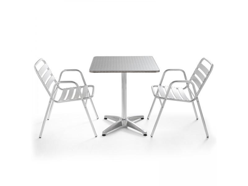 Table de jardin bistrot carrée aluminium et 2 fauteuils 2 places aluminium gris