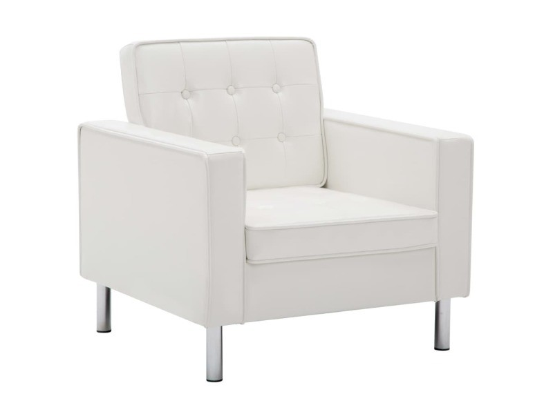 Vidaxl fauteuil revêtement de simili-cuir 75 x 70 x 75 cm blanc 247019