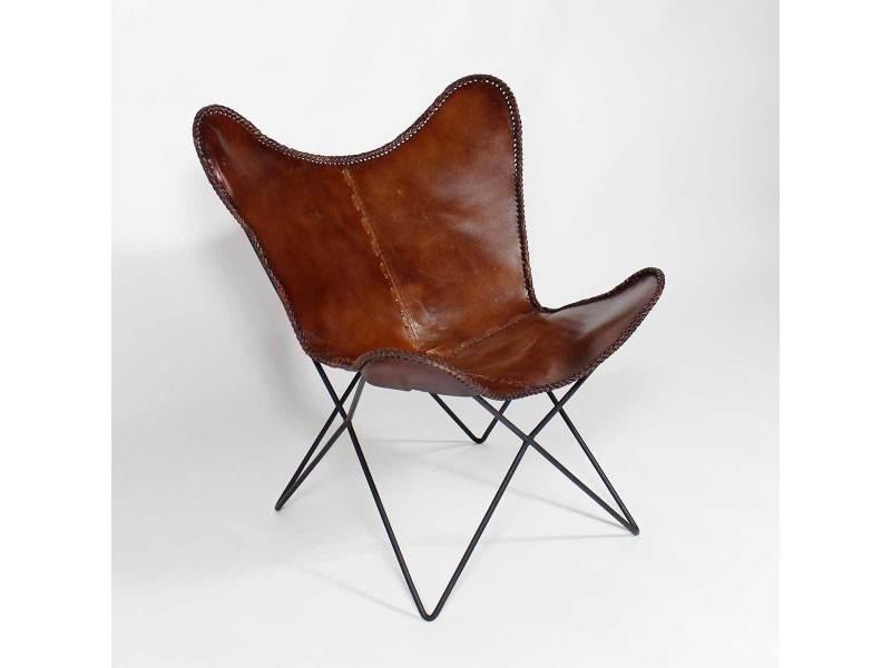 fauteuil papillon en cuir marron s19 vente de tous les. Black Bedroom Furniture Sets. Home Design Ideas