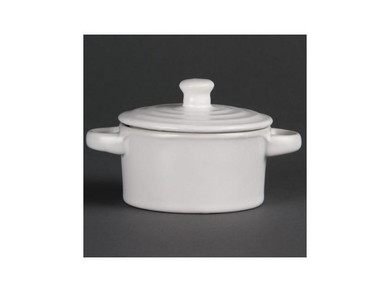 Minis cocottes rondes blanches 75 x 85mm olympia - boite de 4 - 8,5 cm porcelaine 14,2 cl
