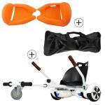 Accessoire hoverboard 6,5 pouces :  pack essentiel 3 en 1 : hoverkart blanc +  coque/housse silicone orange +  sac de transport